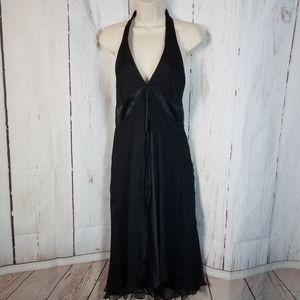 Laundry by Shelli Segal 12 Black Silk Halter Dress